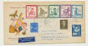 NETHERLANDS 1950 NEEDY CHLIDREN SET ON 1st DAY COVER Sc#B219-23 (SEE BELOW)