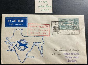 1937 Indore India First Flight Airmail cover FFC To Bombay Map Cachet