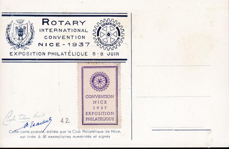 France 1937 City of Nice, France ROTARY & Stamp Expo.Official Card  Labels