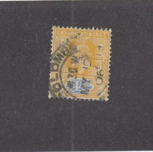 CEYLON (MK4045)  # 168  VF-USED  4c KING EDWARD VII / YEL & BLUE/COLOMBO CANCEL