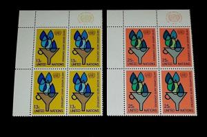 U.N. 1977, NEW YORK #283-284, WATER CONFERENCE INSC. BLKS/4, NICE! LQQK!