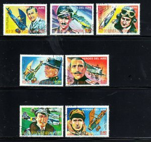 EQUATORIAL GUINEA AIR HEROES SET OF 7  MINT  VF NH  O.G CTO  (EQ2)