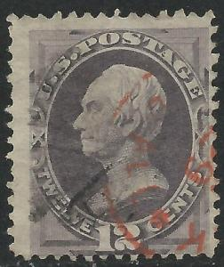 US Scott #151 Fine Used 12c Banknote Stamp CV $220 Red Cancel