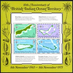British Indian Ocean Territory Sc# 85a MNH Souvenir Sheet 1973 Maps