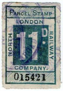 (I.B) North London Railway : Parcel Stamp 11d (Broad Street)