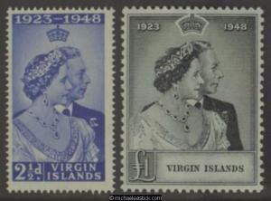 1949 British Virgin Islands Royal Silver Wedding, set of 2, SG 124-5, MUH