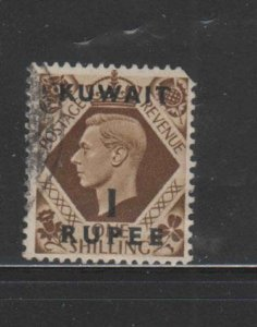 KUWAIT #79  1948  1r on 1sh   KING GEORGE VI SURCHARGED   F-VF  USED  a