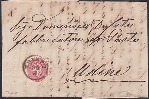 AUSTRIA ITALY 1864 folded entire 4k TRIEST cds to Udine....................53700