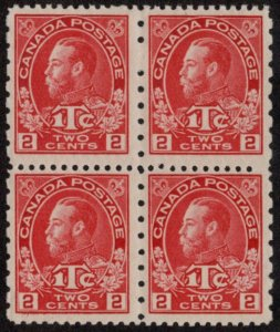 CAN SC #MR5 MNH B4 1916 2c + 1c War Tax Stamp P 12 x 8 Typ I CV $520.00