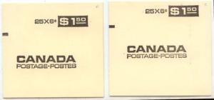 Canada - Counter Booklet 1970 6c Black Pane of 25 Dull & LF #BK61a #BK61b