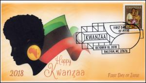 18-266, 2018, Kwanzaa, Pictorial Postmark, First Day Cover,
