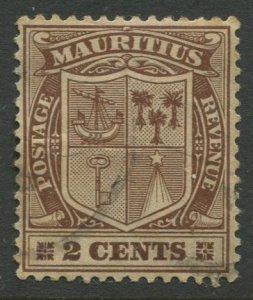 STAMP STATION PERTH Mauritius #138 Coat of Arms Used Wmk 3 -1910