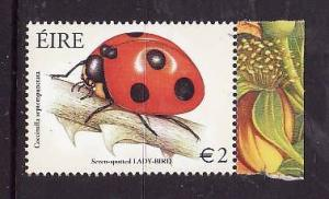Ireland-Sc#1467-unused NH stamp from souvenir sheet-Beetles-Seven-spotted Ladybu
