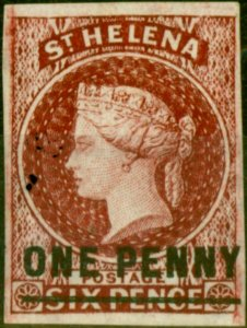 St Helena 1863 1d Lake SG4 Type B Fine Mtd Mint