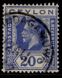 CEYLON GV SG350, 20c bright blue, FINE USED.