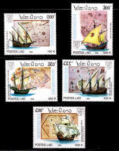 Laos MNH 1085-9 Sailing Ships & Maps 1992