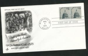 1616 FDC Capitol Dome coil line pair on Art Craft Cache U/A