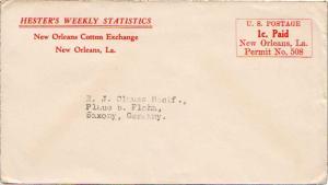 United States Louisiana New Orleans c1930 1c Paid Permit No. 508 Printed matt...