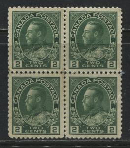 Canada KGV Admiral 2 cents green block of 4 mint o.g.