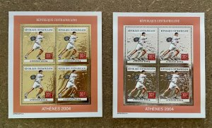 Stamps Minisheets Olympic Games Tennis Athénes 2004 Central Africa Perf.
