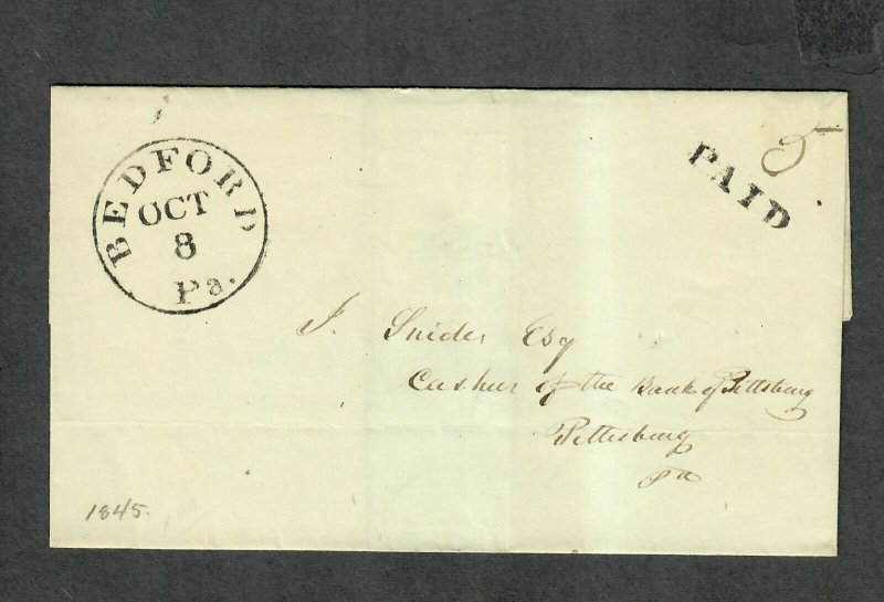Stampless Cover Bedford PA Oct 8 1845 No Contents