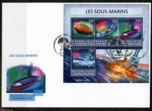 CENTRAL AFRICA 2015  SUBMARINES  SHEET FIRST DAY COVER