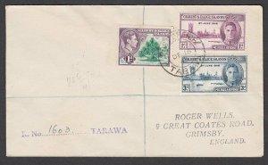 GILBERT & ELLICE IS 1946 Registered cover to UK ex TARAWA...................N669