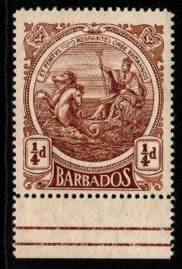 BARBADOS SG181w 1916 ¼d DEEP BROWN WMK INVERTED MNH
