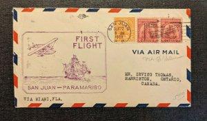 1929 San Juan Puerto Rico to Paramaribo First Flight Cover to Ontario Canada
