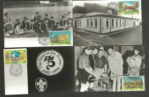 1982 Isle of Man Boy Scouts 75th anniversary FDC 4 photo postcards