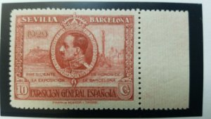 O) 1929 SPAIN, PROOF COLOR KING ALFONSO XIII AND VIEW  OF BARCELONA, EDIFIL 437c
