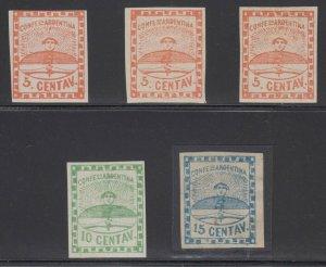 ARGENTINA 1858 CONFEDERATION Sc 1-3, 1a & 1b FULL SET MINT & UNUSED