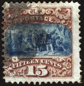 Classic U.S.#118 15c Brown & Blue Type I Used with Center Shift Error CV $750