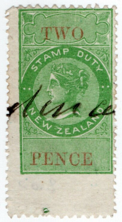 (I.B) New Zealand Revenue : Stamp Duty 2d (large mis-perf)