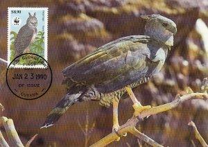 Guyana 1990 Maxicard Sc #2243 $8.90 Harpy eagle WWF