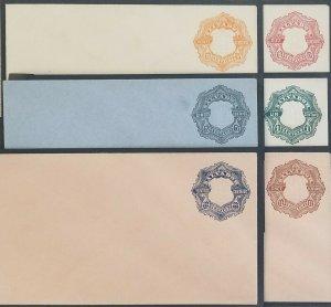 A) 1892, EL SALVADOR, POSTAL STATIONARY, YELLOW, CARMINE, GRAY GREEN, BLUE AND B