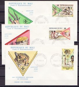Mali, Scott cat. 425-427. African Scout Conference issue. 3 First day covers. ^