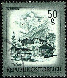 Austria #958  Used - Scenes Series 50g Farmhouses in Zillertal (1973)