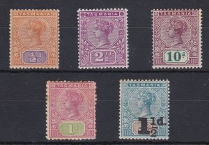 T102) Tasmania 1892-1913 Tablets ½, 2½, 10d, 1/- & 1904 1½d on 5d surcharge