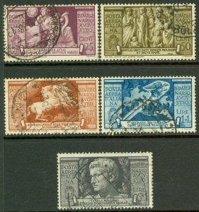 EDW1949SELL : ITALY 1937 Sc #C95-99 Cplt set. VF, Used w/ nice cancels. Cat $413