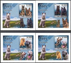 {015} Sao Tome & Principe 2008 Dogs 4 S/S Deluxe MNH**