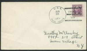 USA CHINA 1936 cover with cancel USS PAUL JONES / CHEFOO CHINA ............61136