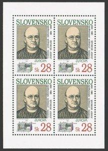 Slovakia 180a sheet,MNH.Michel 191 klb. EUROPE CEPT-1994.J.Murgas,inventor.