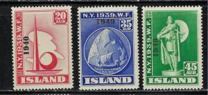 Iceland 232-34 No Gum 1940 Overprinted partial set