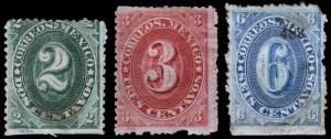 Mexico Scott 146a, 147a, 148 (1882-83) Mint H NG G-F, CV $62.75