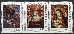 BOLIVIA SCOTT#901E-G ART CHRISTMAS 1993 MINT NEVER HINGED CATALOG VALUE $24.50