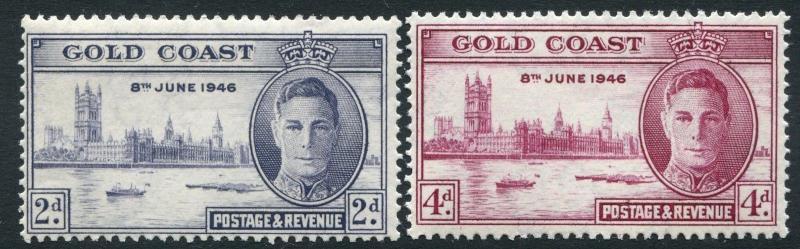 GOLD COAST-1946 Victory Set Perf 13½ x 14 Sg 133-134 UNMOUNTED MINT V21232