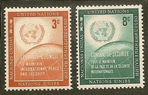 United Nations NY    Scott  55-6    Emblem, Globe    MNH