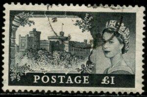 GREAT BRITAIN Sc#312 SG#526 1955 QEII £1 black High Value Wmk. Crown & E2R Used