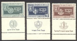ISRAEL #28-30 Mint NH Tab Set - 1949 New Year